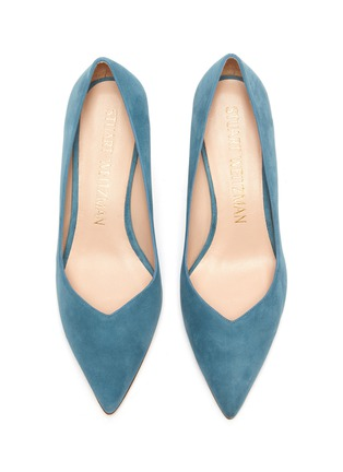 Detail View - Click To Enlarge - STUART WEITZMAN - 'Anny' sweetheart vamp suede pumps