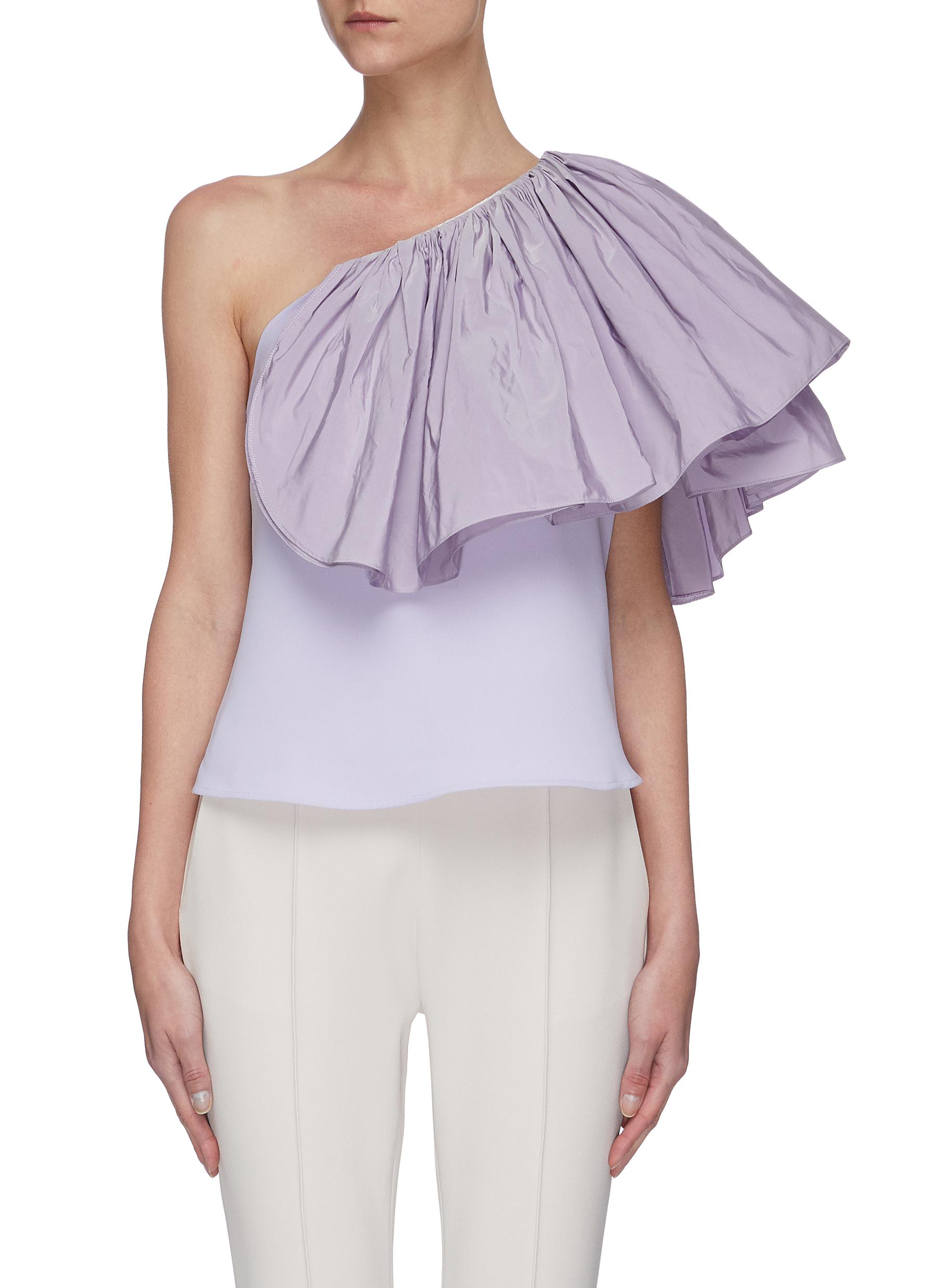 Buy Maticevski Tops Attest' One Shoulder Ruffle Top