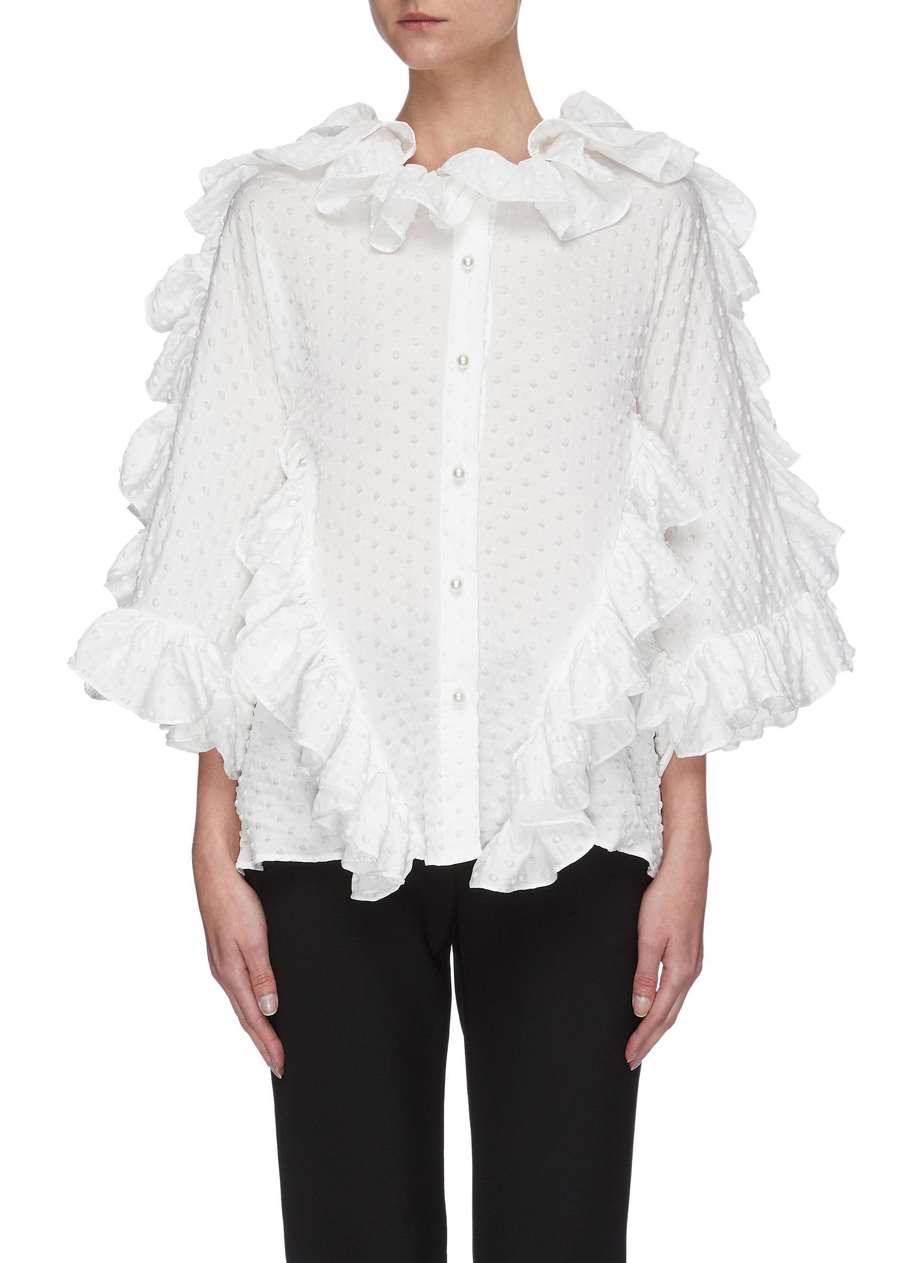 shop Maticevski Jubilant' ruffle sleeve blouse online