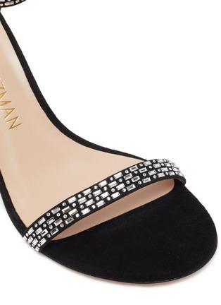 Detail View - Click To Enlarge - STUART WEITZMAN - 'Nunakedstraight' crystal embellished suede heeled sandals