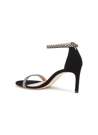 - STUART WEITZMAN - 'Nunakedstraight' crystal embellished suede heeled sandals