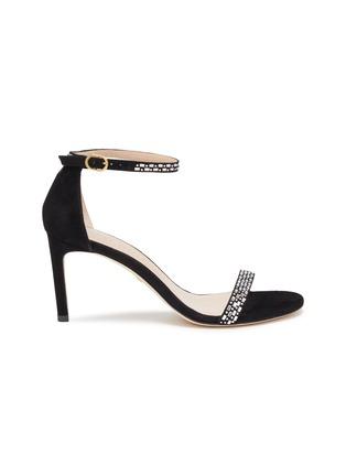 Main View - Click To Enlarge - STUART WEITZMAN - 'Nunakedstraight' crystal embellished suede heeled sandals