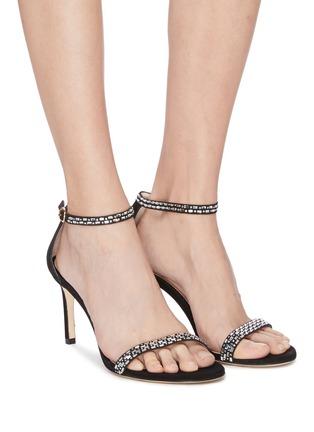 Figure View - Click To Enlarge - STUART WEITZMAN - 'Nunakedstraight' crystal embellished suede heeled sandals