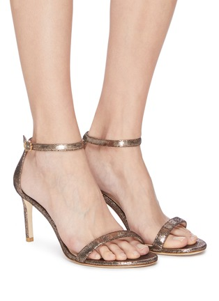 Figure View - Click To Enlarge - STUART WEITZMAN - 'Nunakedstraight' glittered heeled sandals
