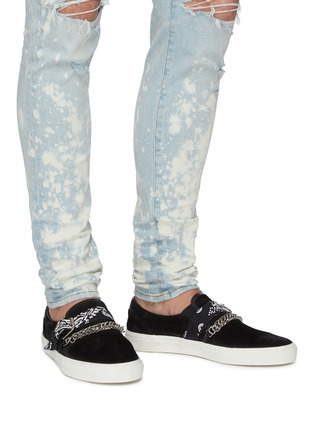 Figure View - Click To Enlarge - AMIRI - 'Bandana' suede leather skate sneakers