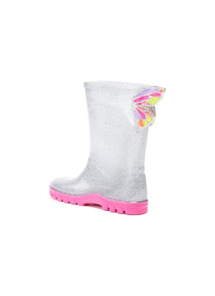 Detail View - Click To Enlarge - SOPHIA WEBSTER - Butterfly wings contrast sole glitter kids welly boots