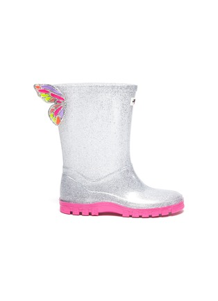Main View - Click To Enlarge - SOPHIA WEBSTER - Butterfly wings contrast sole glitter kids welly boots