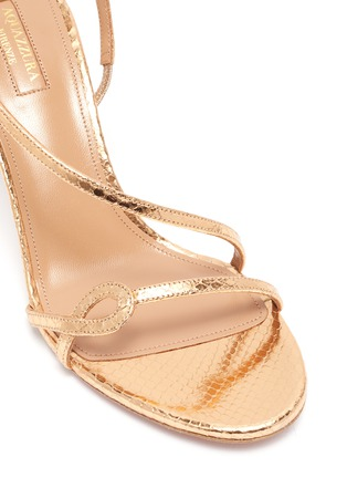 Detail View - Click To Enlarge - AQUAZZURA - 'Serpentine' snake embossed leather heeled sandals