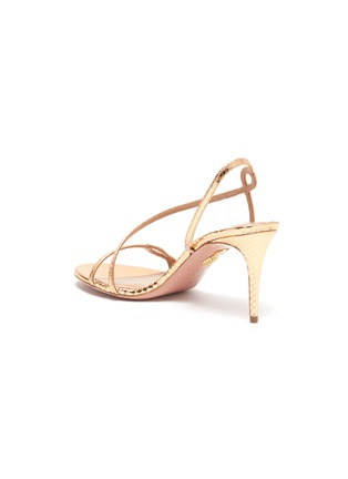 - AQUAZZURA - 'Serpentine' snake embossed leather heeled sandals