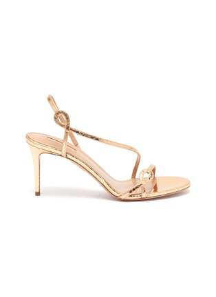 Main View - Click To Enlarge - AQUAZZURA - 'Serpentine' snake embossed leather heeled sandals