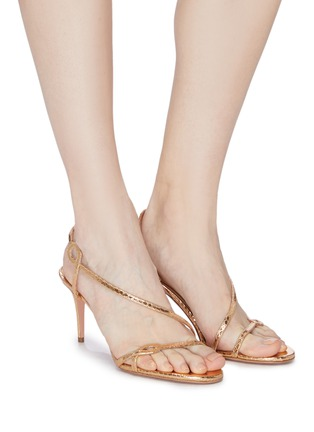 Figure View - Click To Enlarge - AQUAZZURA - 'Serpentine' snake embossed leather heeled sandals