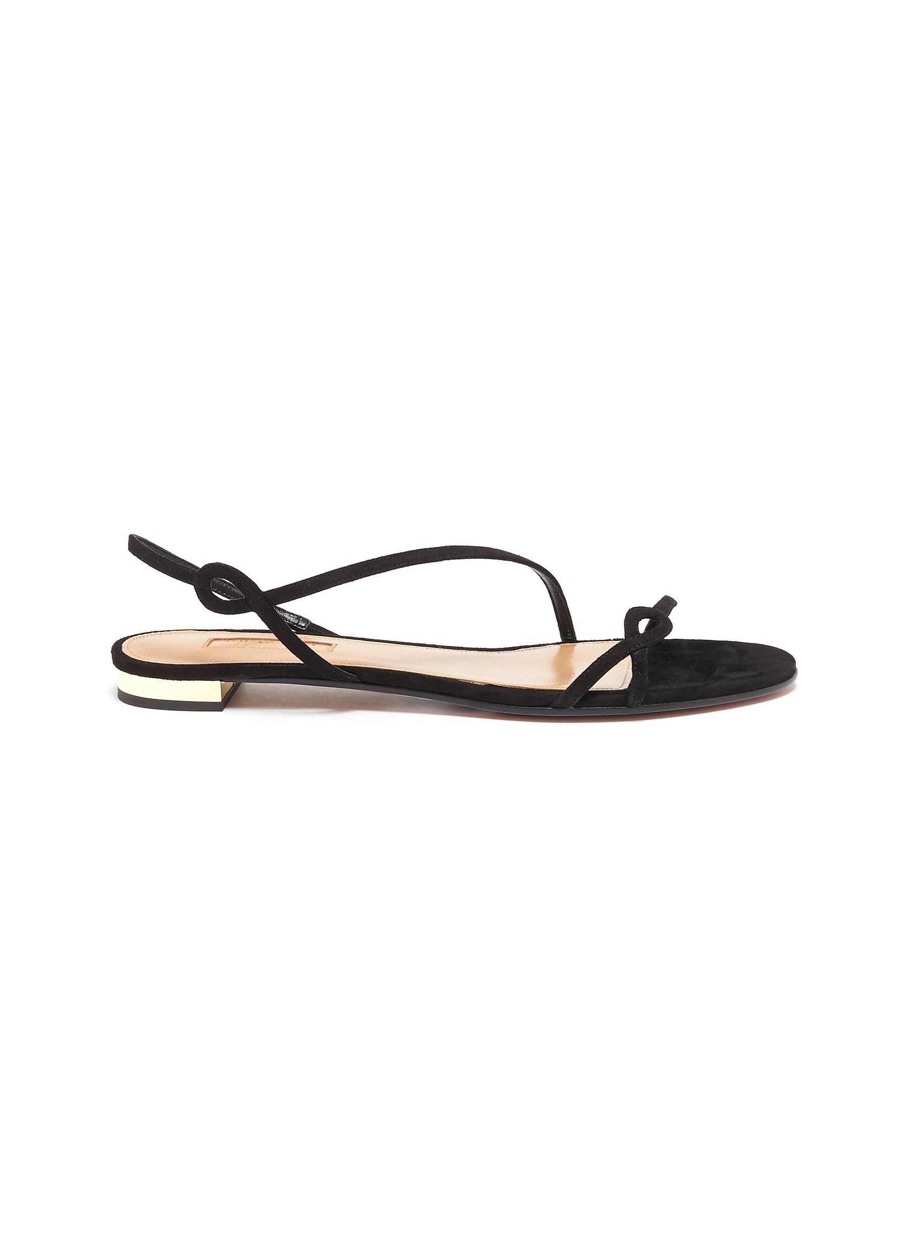 Aquazzura Flats Serpentine suede leather flat sandals