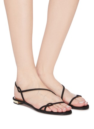 Figure View - Click To Enlarge - AQUAZZURA - 'Serpentine' suede leather flat sandals