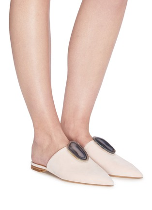 Figure View - Click To Enlarge - GABRIELA HEARST - Agate embellished suede leather slides