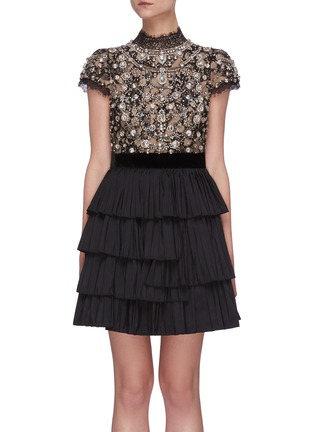 Main View - Click To Enlarge - ALICE + OLIVIA - 'Dorian' Crystal Embellished Tier Dress