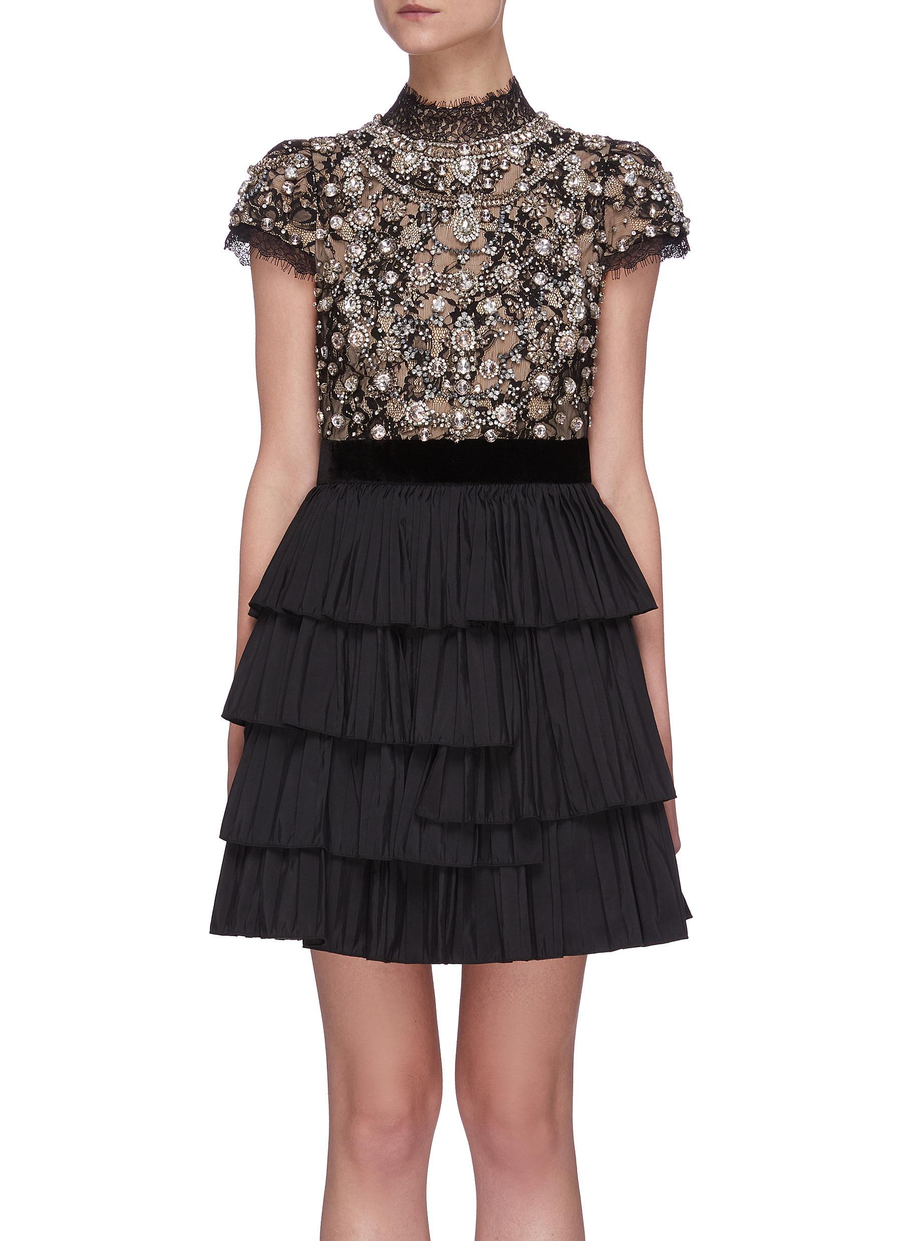 shop Alice + Olivia 'Dorian' Crystal Embellished Tier Dress online