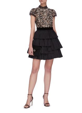 Figure View - Click To Enlarge - ALICE + OLIVIA - 'Dorian' Crystal Embellished Tier Dress