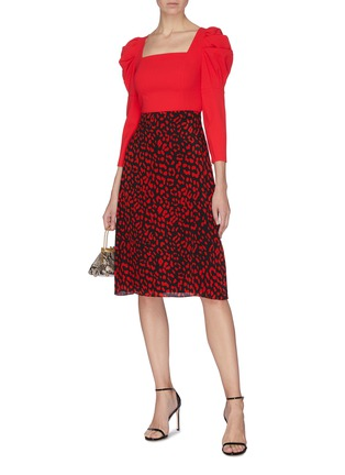 Figure View - Click To Enlarge - ALICE + OLIVIA - 'Sula' leopard print silk skirt