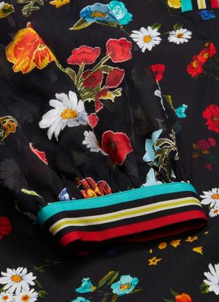 - ALICE + OLIVIA - 'Lalita' contrast stripe panel floral collar dress