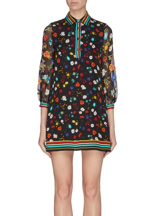 Main View - Click To Enlarge - ALICE + OLIVIA - 'Lalita' contrast stripe panel floral collar dress