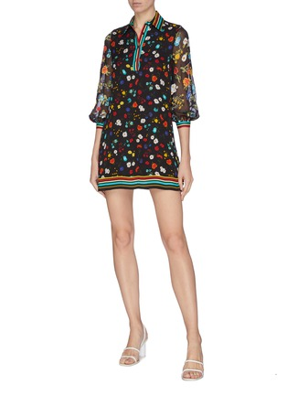 Figure View - Click To Enlarge - ALICE + OLIVIA - 'Lalita' contrast stripe panel floral collar dress