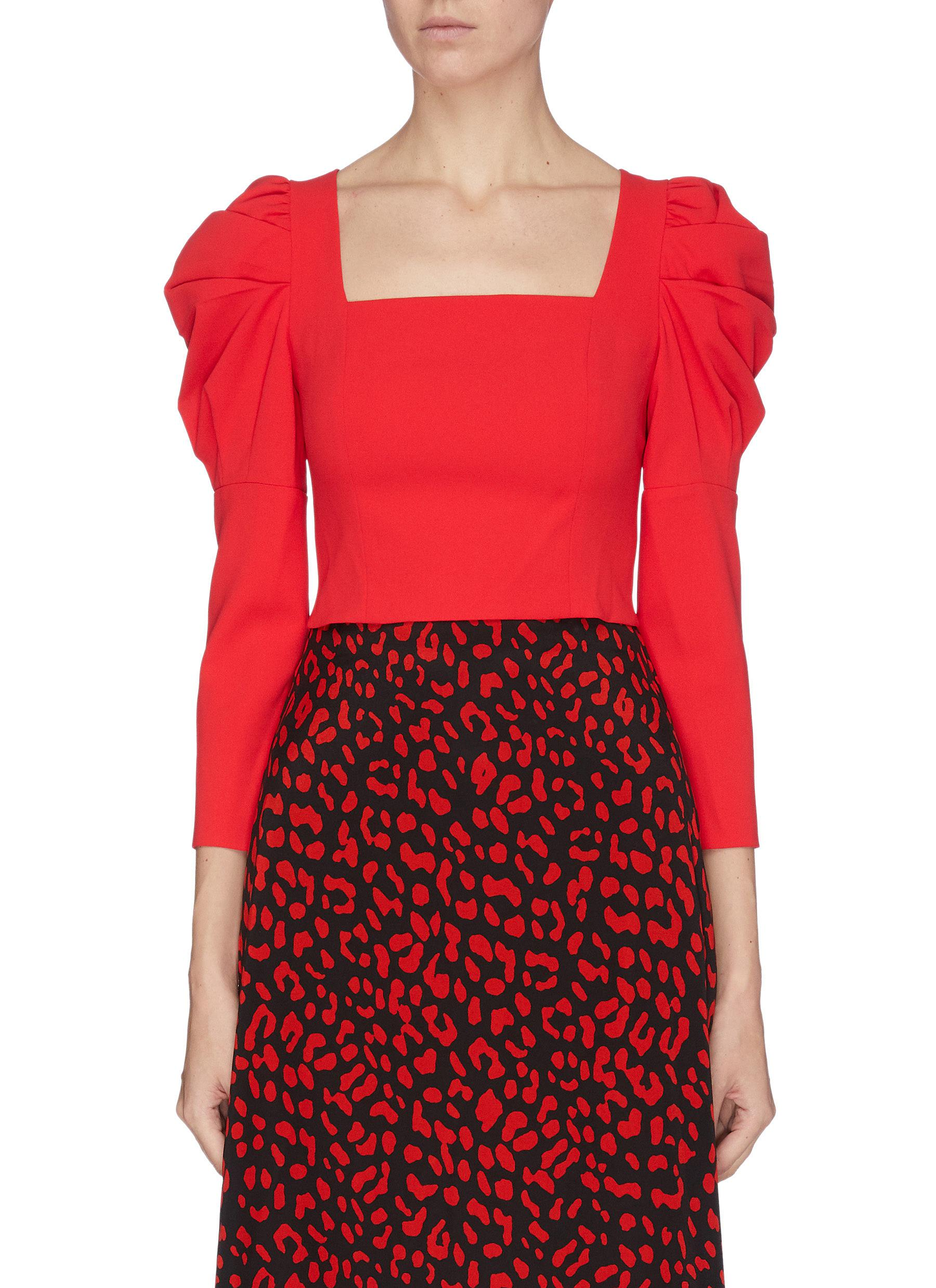shop Alice + Olivia Square neck puff sleeve top online