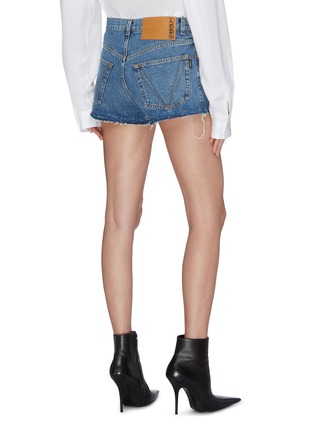 Back View - Click To Enlarge - VETEMENTS - 'Gothic' logo embroidered denim shorts