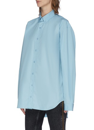 Front View - Click To Enlarge - VETEMENTS - Logo embroidered oversized button-up shirt