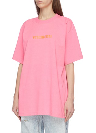 Front View - Click To Enlarge - VETEMENTS - Logo print oversized T-shirt