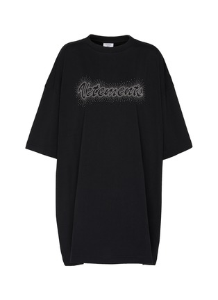 Main View - Click To Enlarge - VETEMENTS - Logo embroidered bling bling oversized T-shirt