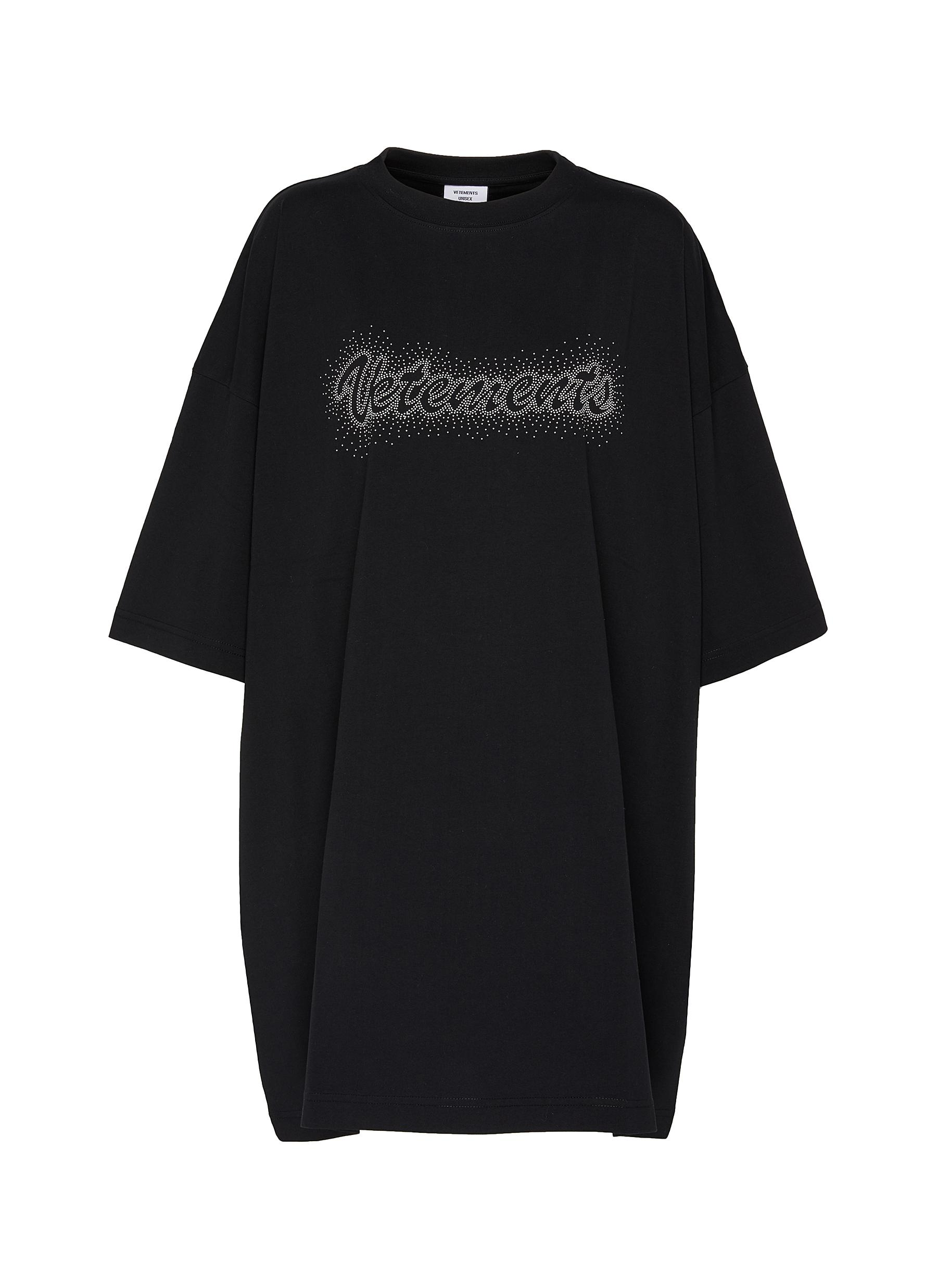 shop Vetements Logo embroidered bling bling oversized T-shirt online