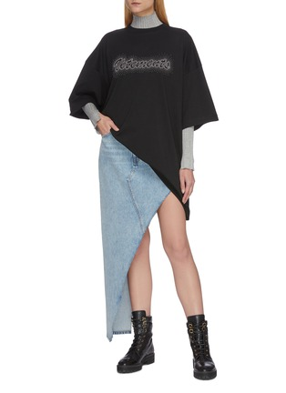 Figure View - Click To Enlarge - VETEMENTS - Logo embroidered bling bling oversized T-shirt