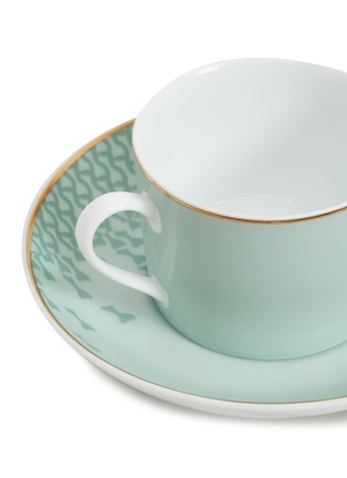Detail View - Click To Enlarge - ANDRÉ FU LIVING - Mid Century Rhythm Western Porcelain Tea Cup with Saucer – Sage Green