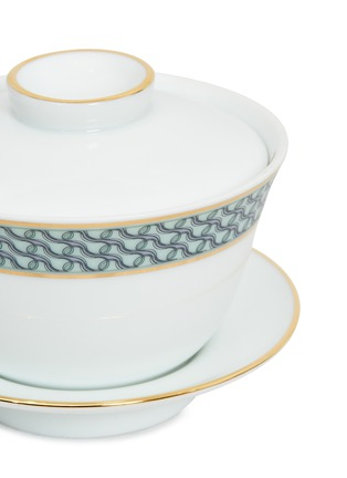 Detail View - Click To Enlarge - ANDRÉ FU LIVING - Mid Century Rhythm Chinese Gai Wan Porcelain Tea Cup Set – Sage Green