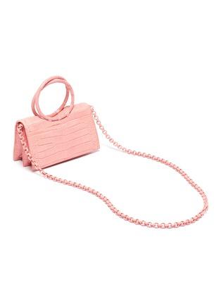 Detail View - Click To Enlarge - NANCY GONZALEZ - Ring handle crocodile leather mini shoulder bag