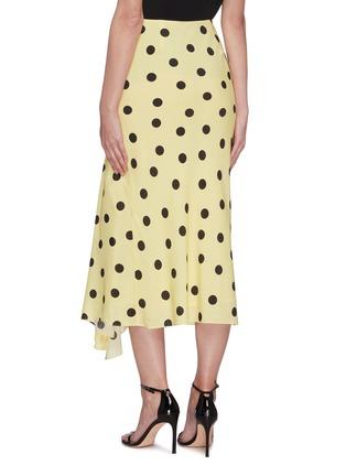 Back View - Click To Enlarge - DE LA VALI - 'Caroline' polka dot flared satin midi skirt
