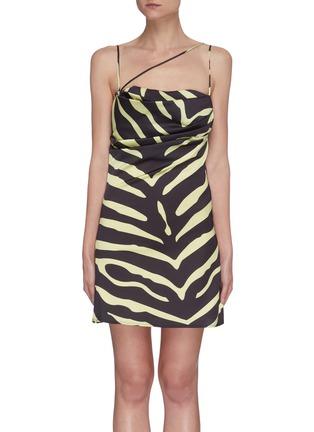 Main View - Click To Enlarge - DE LA VALI - Frisco' spaghetti strap tiger print satin mini dress