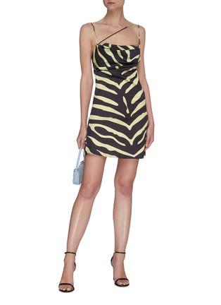 Figure View - Click To Enlarge - DE LA VALI - Frisco' spaghetti strap tiger print satin mini dress
