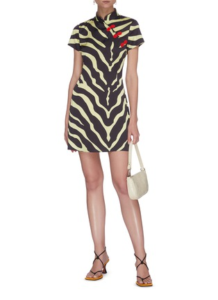 Figure View - Click To Enlarge - DE LA VALI - 'Suki' tiger print oriental collar satin mini dress