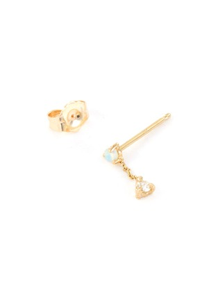 Detail View - Click To Enlarge - WWAKE - 'Small Two-Step' diamond opal 14K yellow gold chain earrings