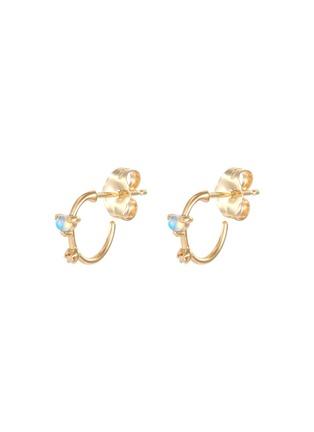 Main View - Click To Enlarge - WWAKE - 'Two Step' diamond opal 14k gold mini earrings