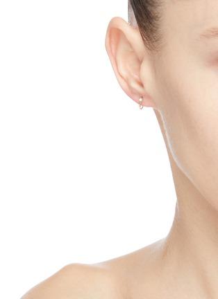 Figure View - Click To Enlarge - WWAKE - 'Two Step' diamond opal 14k gold mini earrings