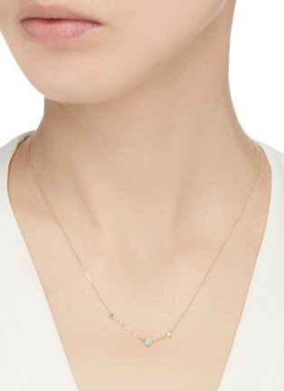 Figure View - Click To Enlarge - WWAKE - 'Three Step' diamond sapphire opal 14k gold necklace