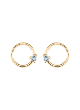 Main View - Click To Enlarge - WWAKE - Sapphire 14k gold circle studs