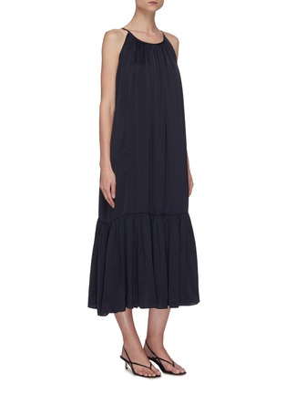 Detail View - Click To Enlarge - EQUIL - Gathered halter neck tiered midi dress
