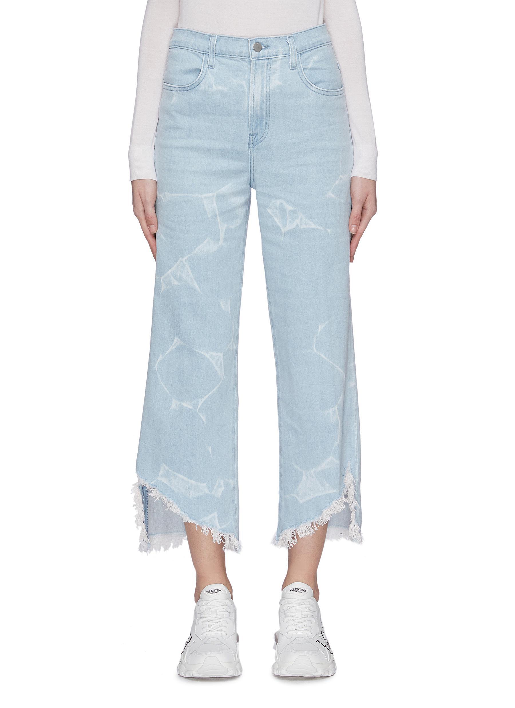 shop J Brand 'Joan' light wash crinkle frayed hem flare jeans online