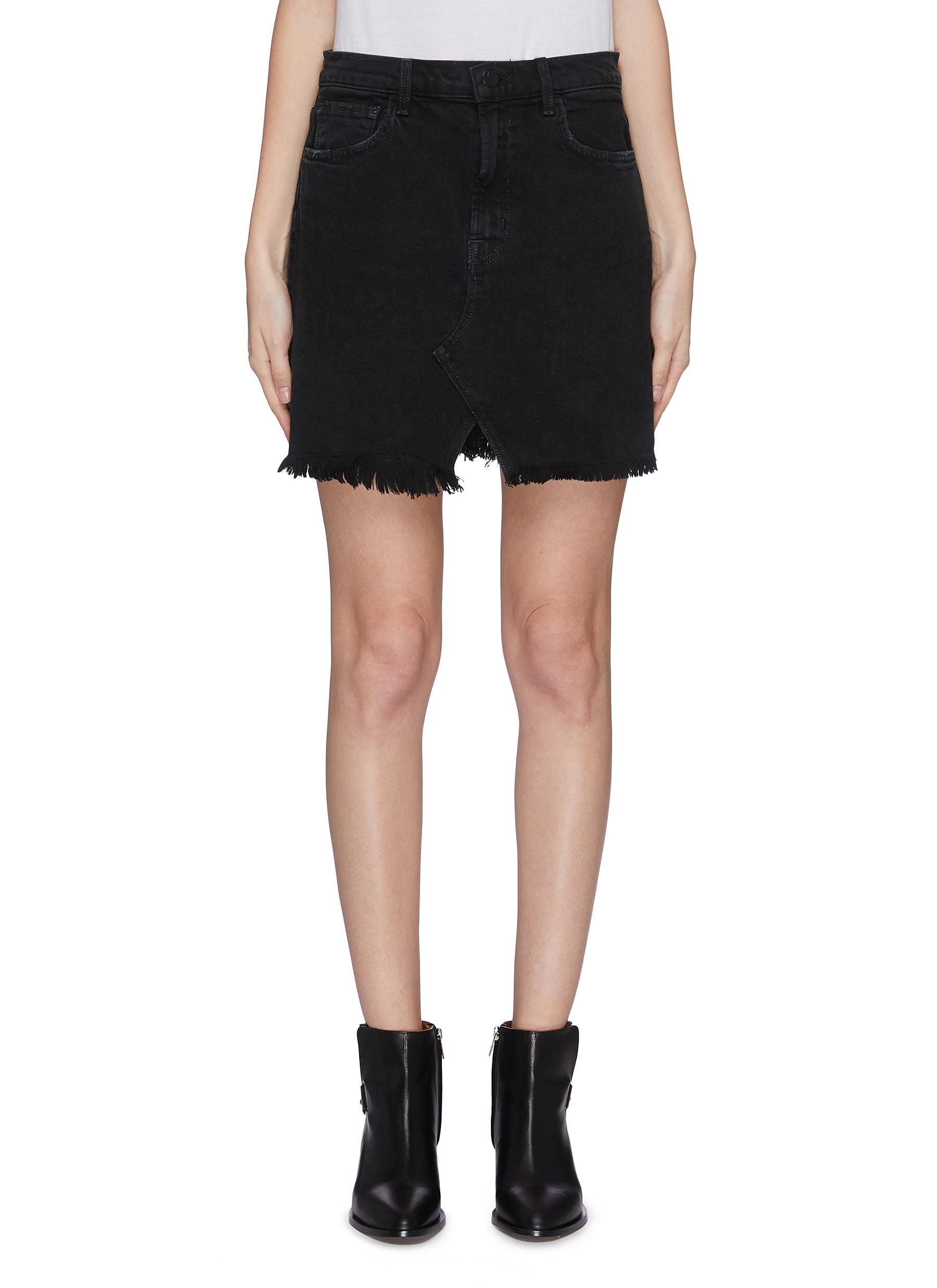 shop J Brand 'Jules' dark wash slit frayed hem denim skirt online