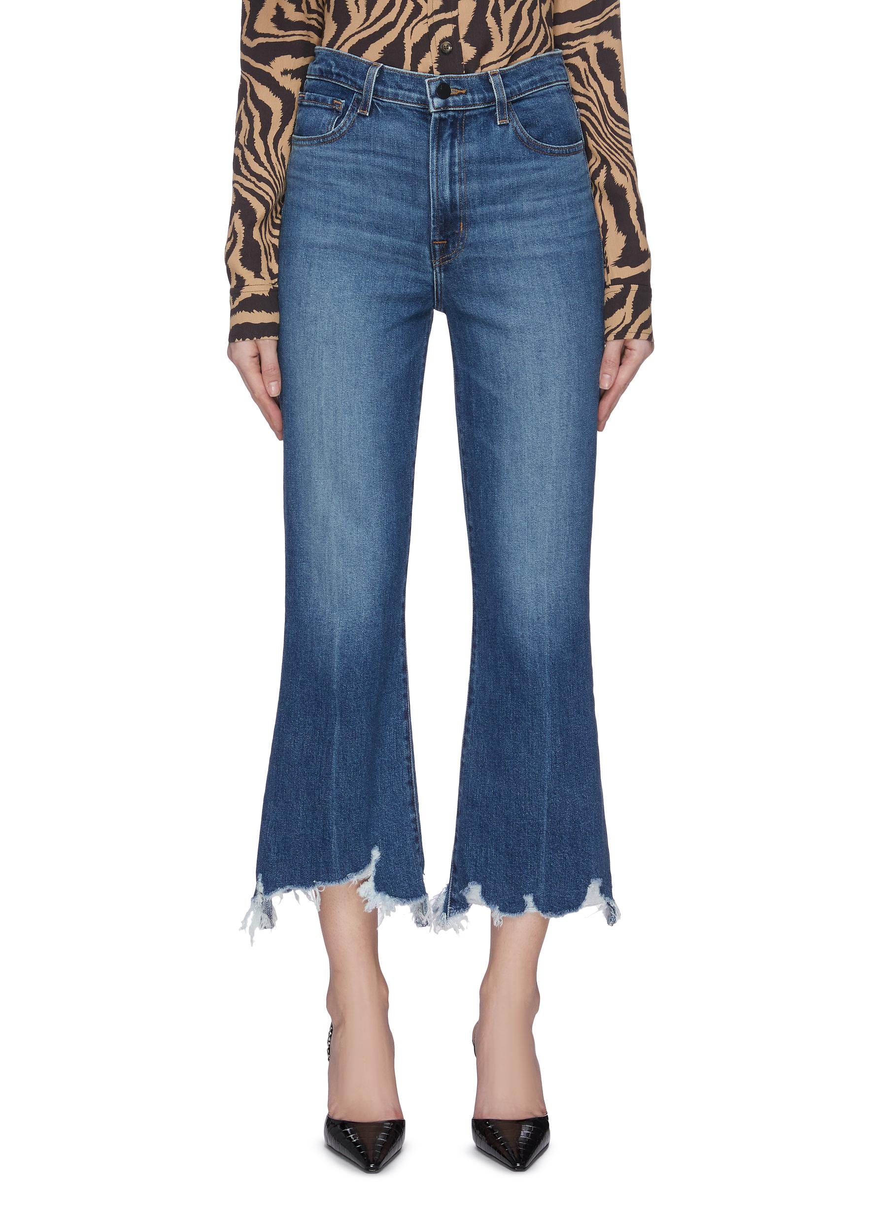 shop J Brand 'Julia' whiskering frayed hem flare jeans online