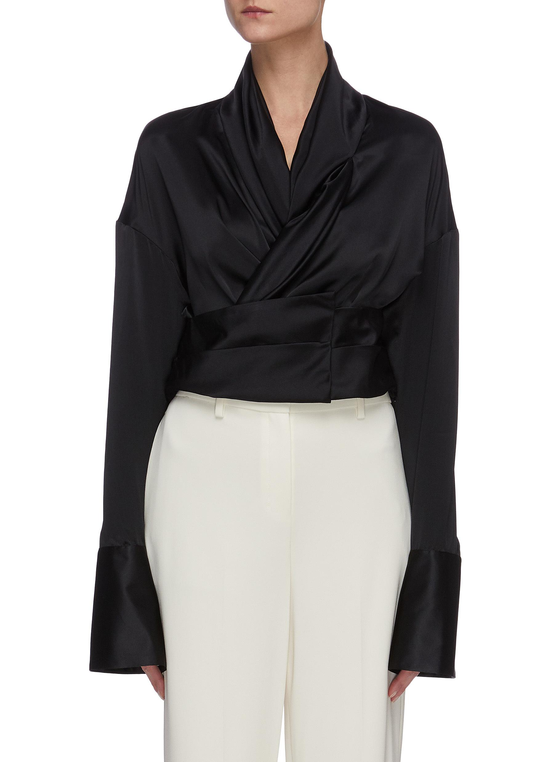shop Hellessy Harlow' flare sleeve tie waist silk blouse online