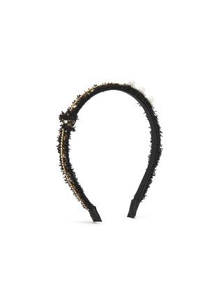 Figure View - Click To Enlarge - VENNA - Crystal pearl embellished tweed headband